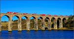 2015 03 04.10.00 Edinburgh-Kings Cross Virgin new liveried set crosses the Royal Border Bridge.